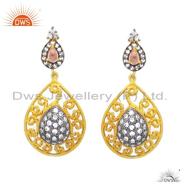 22K Yellow Gold Plated Sterling Silver Pink Tourmaline And CZ Teardrop Earrings