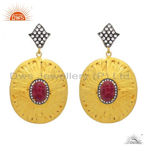22K Gold Plated Sterling Silver Dyed Ruby Corundum And CZ Designer Earrings