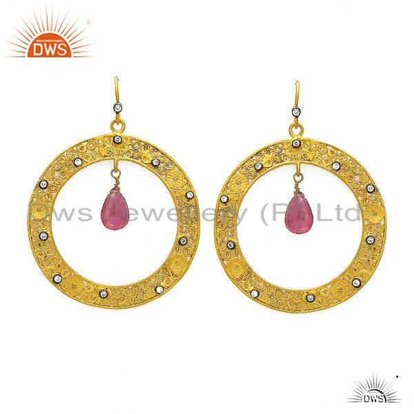 18K Yellow Plated Sterling Silver Pink Tourmaline And CZ Fashion Earrings