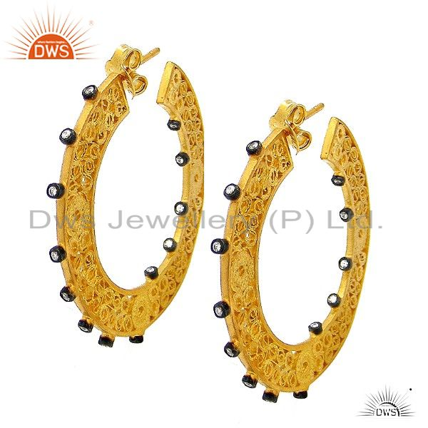 22K Yellow Gold Plated Sterling Silver Cubic Zirconia Fashion Hoop Earrings