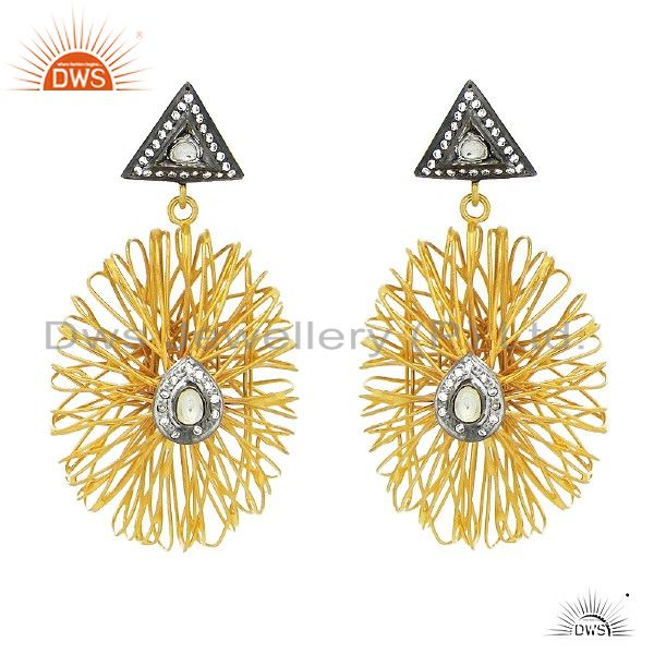 22K Yellow Gold Plated Sterling Silver Wire Wrapped Designer Earrings With CZ