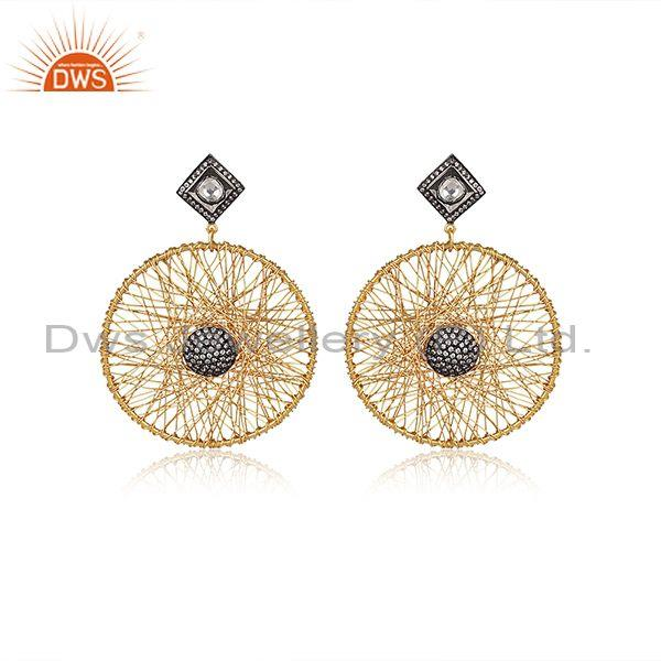 22K Gold Plated Sterling Silver CZ And Pink Tourmaline Woven Dangle Earrings