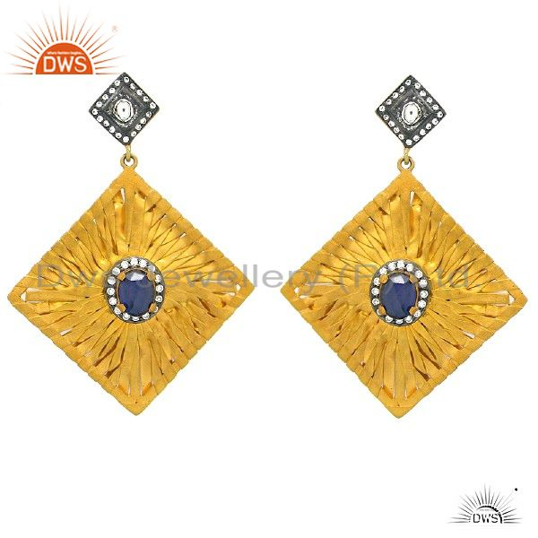 22K Gold Plated Sterling Silver Blue Corundum Wire Woven Designer Earrings