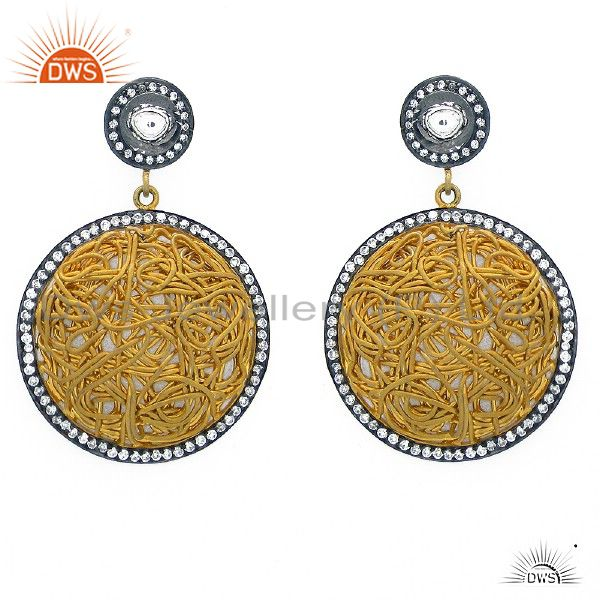22K Yellow Gold Plated Sterling Silver CZ Polki Woven Style Dangle Earrings