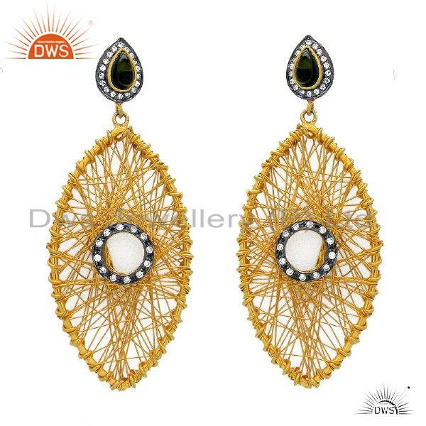 18K Yellow Gold Plated Sterling Silver Wire Woven Tourmaline Dangle Earrings