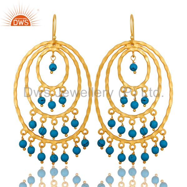 22K Yellow Gold Plated Sterling Silver Turquoise Hammered Chandelier Earrings