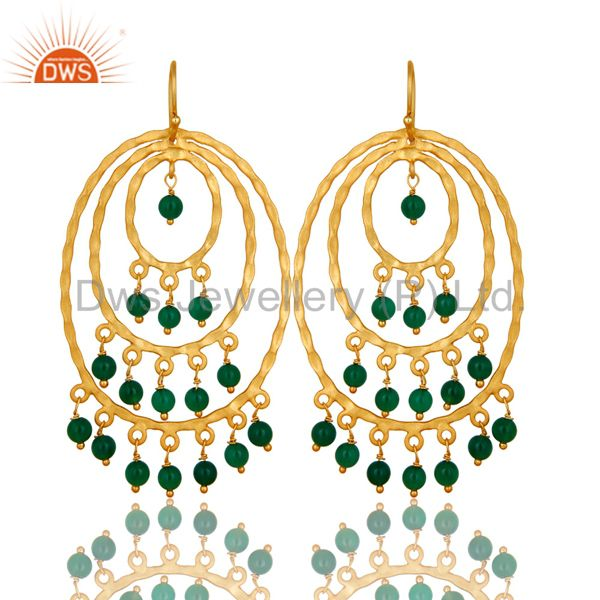 22K Yellow Gold Plated Sterling Silver Green Onyx Hammered Chandelier Earrings