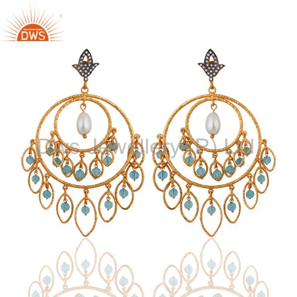 24K Gold Plated Over 925 Sterling Silver Blue Topaz & Pearl Chandelier Earrings
