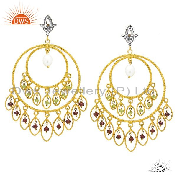 18K Gold Plated Sterling Silver Pearl And Pearl Chandelier Earrings With CZ