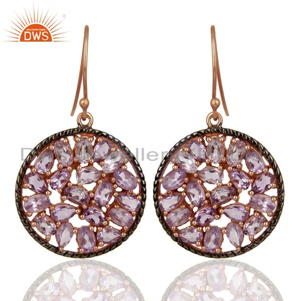 Natural Amethyst Gemstone Pave Set Diamond Silver Earrings Jewelry