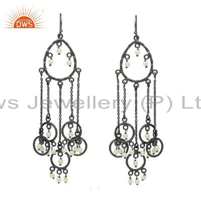 Rhodium Plated 925 Sterling Silver Natural White Pearl Bridal Chandelier Earring