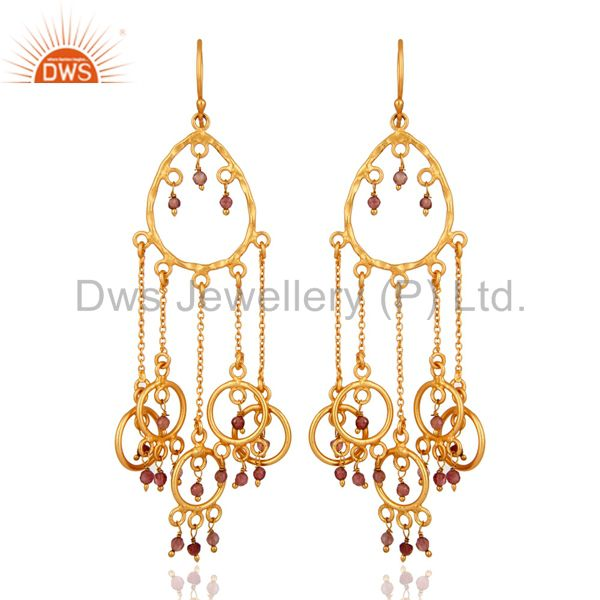Gold Plated 925 Sterling Silver Tourmaline Gemstone Bridal Chandelier Earrings