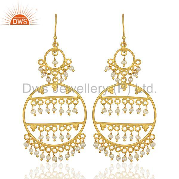 Natural Pearl Gemstone Gold Plated 925 Silver Womens Earrings Jewelry