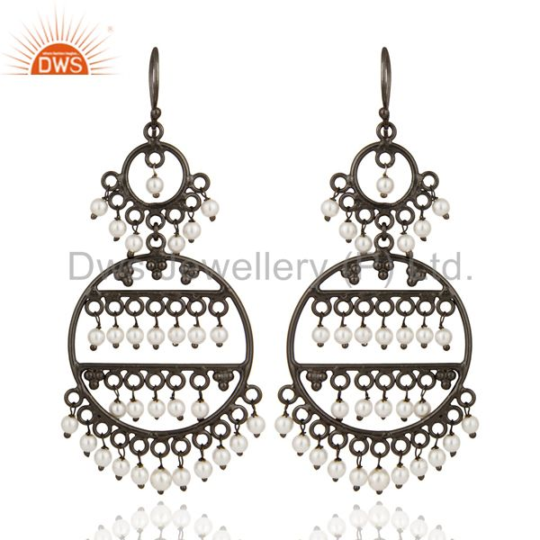 Handmade Rhodium Plated Sterling Silver 925 White Pearl Wedding Chandelier Earri