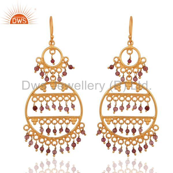 Gold Plated 925 Sterling SIlver Pink Tourmaline Gemstone Designer Earrings