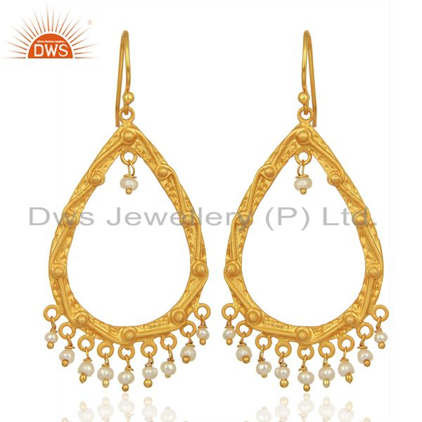 Natural Pearl Gemstone Gold Plated Silver Womens Wedding Earrings