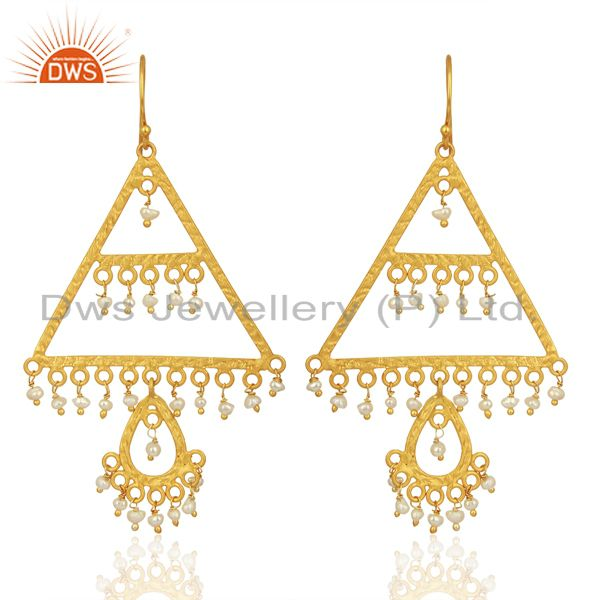 Wholesale Natural Pearl Gemstone Gold Plated Silver Designer Earrings