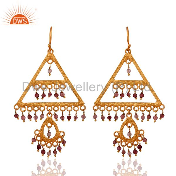 Handmade Pink Tourmaline Gemstone Chandelier Earrings In 18k Gold On 925 Silver