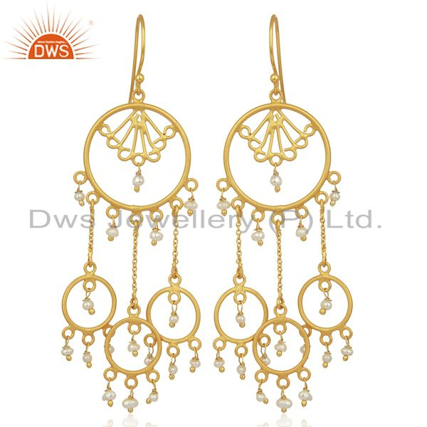 Pearl Circles 925 Sterling Silver 18K Gold Plated Chandelier Long Earrings