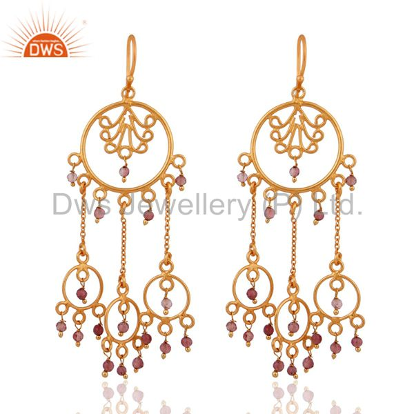 Natural Tourmaline Indian 925 Silver Designer Gold Plated Party Wear Earrings