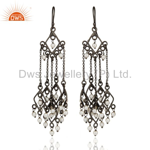 925 Sterling Silver White Pearl Chandelier Earring With Black Rhodium Plated