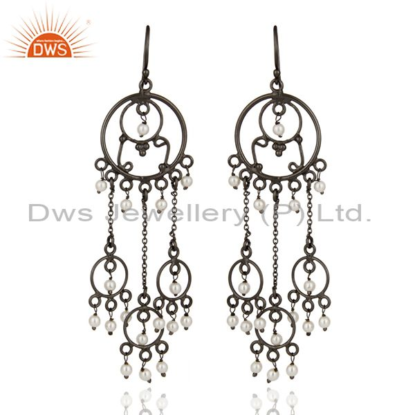 Handmade Natural Pearl Beads 925 Sterling Silver Rhodium-Plated Ladies Earrings