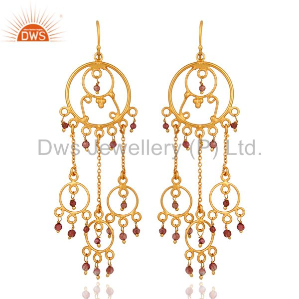 Handmade 925 Sterling Silver Natural Tourmaline Beads Earrings With 14k Gold Ver