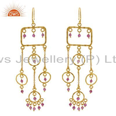 18K Gold Plated Natural Tourmaline Beads Earring Crafted In Solid Sterling Silve