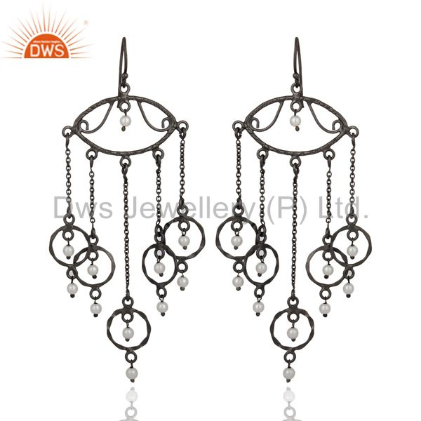 Hand-Made 925 Sterling Silver Rhodium Plated Natural Pearl Chandelier Earrings