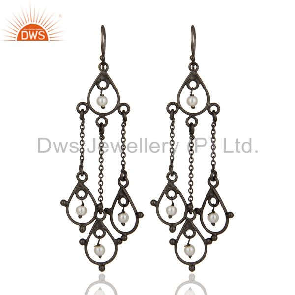 Rhodium Plated Sterling Silver Designer Chandelier Earring With Pearl Beads