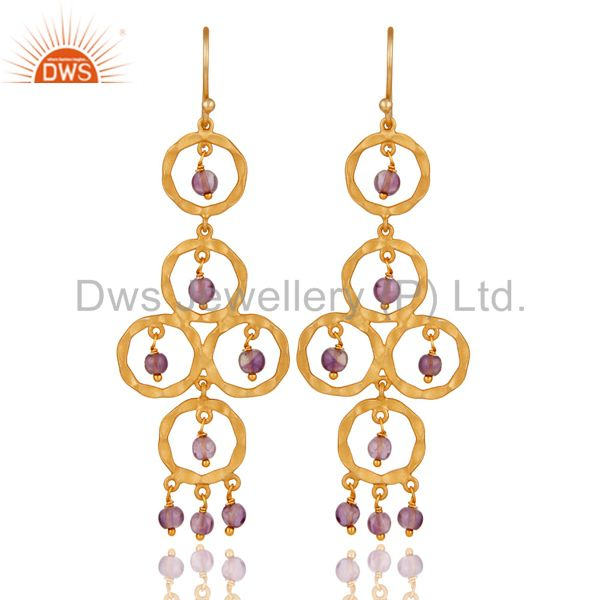 Amethyst Beaded 18K Gold Plated Sterling Silver Dangler Earring