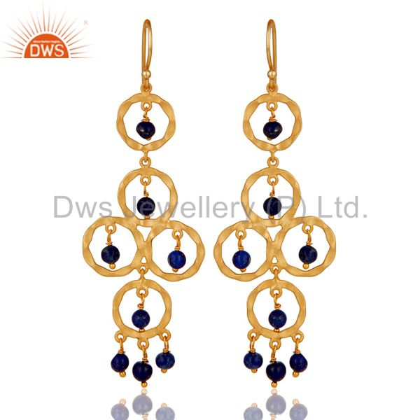 Lapiz Lazuli Beaded 18K Gold Plated Sterling Silver Dangler Earring