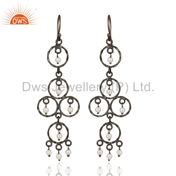 Handmade Sterling Silver Pearl Chandelier Hook Earring With Black Rhodium Plated