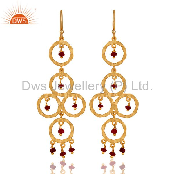 Rubyi Beaded 18K Gold Plated Sterling Silver Dangler Earring