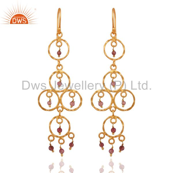 18k Gold Over 925 Silver Pink Tourmaline Gemstone Hammered Chandelier Earrings