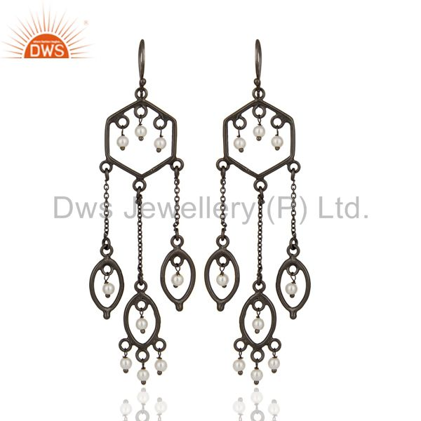 Designer 925 Sterling Silver Pearl Beaded Bridal Wedding Chandelier Earrings