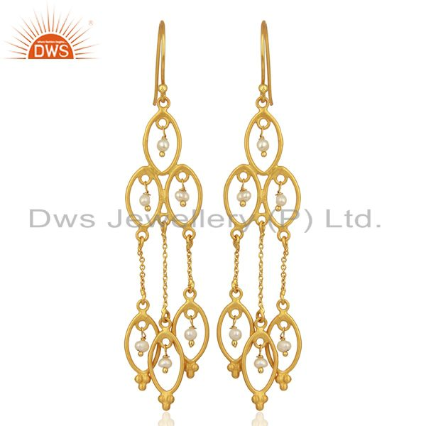 Pearl Beads 18K Yellow Gold Plated 925 Sterling Silver Earrings Jewelry