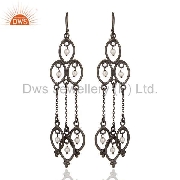 Handmade 925 Sterling Silver Pearl Beaded Bridal Chandelier Earrings With Rhodiu