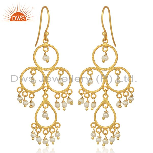 Pearl Beads Drop Dangle 18K Gold Plated 925 Sterling Silver Earrings Jewelry