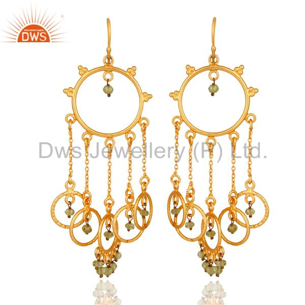 18K Gold Plated Sterling Silver Peridot Gemstone Handmade Chandelier Earrings