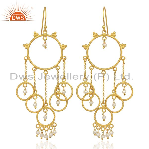 Pearl Beads Chandelier 18K Yellow Gold Plated 925 Sterling Silver Earrings
