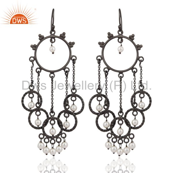 Rhodium Plated Sterling Silver Natural White Pearl Designer Chandelier Earrings