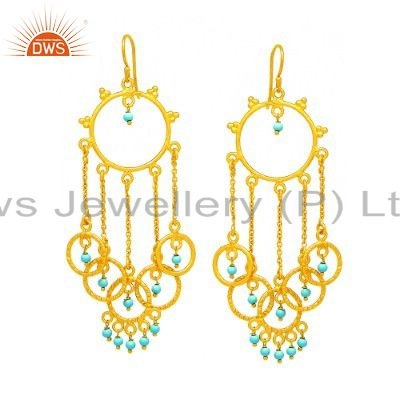 24K Yellow Gold Plated Sterling Silver Turquoise Beaded Chain Chandelier Earring