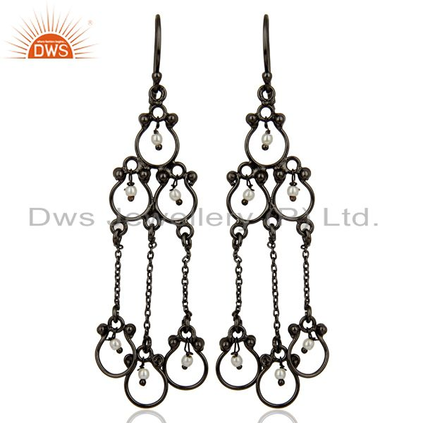 Pearl Studded Black Rhodium Plated Hanging Wholesale Earring Jewelry