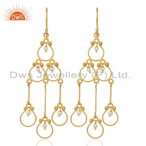 Pearl Beads 18K Yellow Gold Plated 925 Sterling Silver Earriings Jewelry