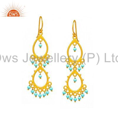 24K Yellow Gold Plated Sterling Silver Turquoise Gemstone Chandelier Earrings