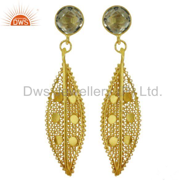Lace Unique Design 925 Sterling Silver Crystal 18k Gold Dangle Earrings