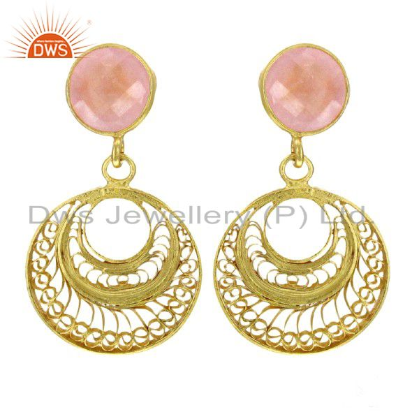 Rose Quartz Gemstone Earring 92.5 Sterling Silver Gold Plated Hand Made Jeweller