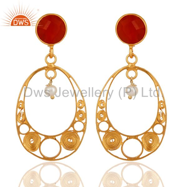 Designer 18k Gold Plated 925 Sterling Silver Red Onyx Gemstone & Pearl Earrings