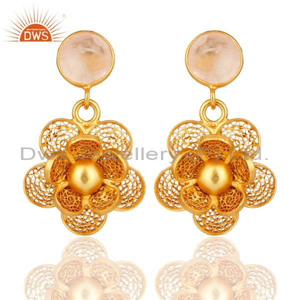 Yellow Gold Plated Sterling Silver Designer Fashion Earrings With Rose Quartz